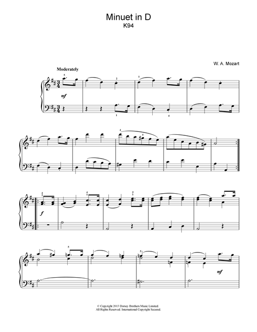 Wolfgang Amadeus Mozart Minuet in D K94 sheet music notes and chords. Download Printable PDF.