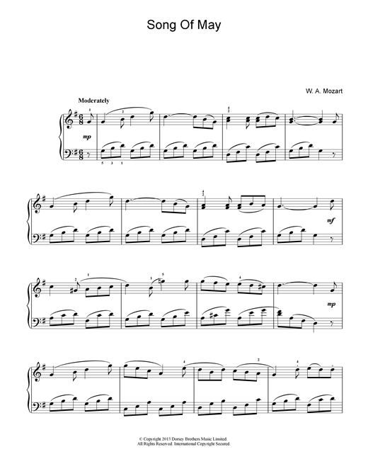 Wolfgang Amadeus Mozart Song Of May sheet music notes and chords. Download Printable PDF.