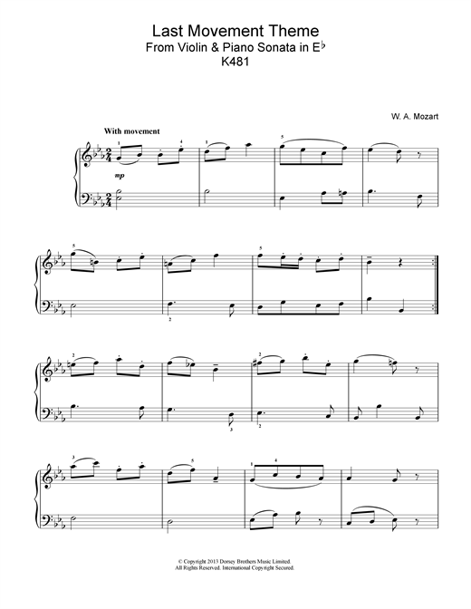 Wolfgang Amadeus Mozart Last Movement Theme from Violin & Piano Sonata in Eb, K481 sheet music notes and chords. Download Printable PDF.