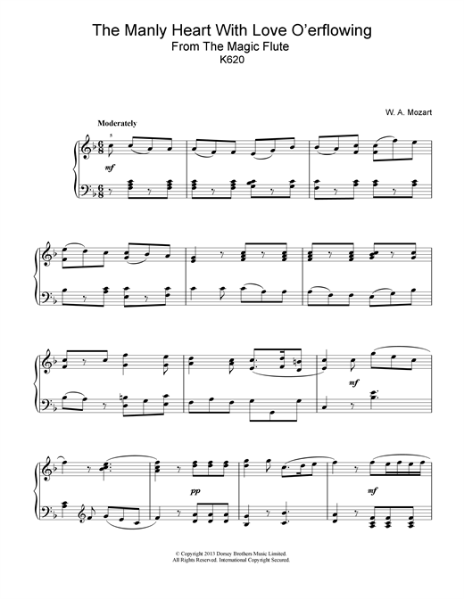 Wolfgang Amadeus Mozart The Manly Heart With Love O'erflowing (from The Magic Flute, K620) sheet music notes and chords. Download Printable PDF.