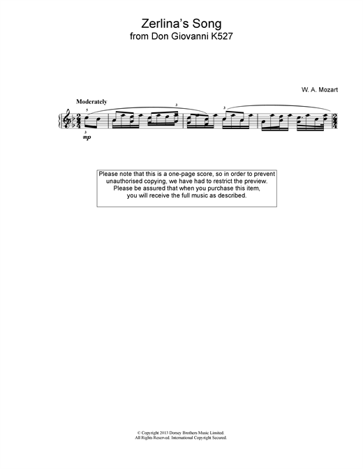 Wolfgang Amadeus Mozart Zerlina's Song From Don Giovanni K527 sheet music notes and chords. Download Printable PDF.