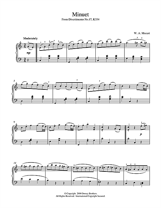 Wolfgang Amadeus Mozart Minuet from Divertimento No.17, K334 sheet music notes and chords. Download Printable PDF.