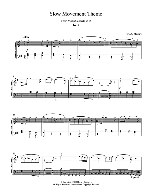 Wolfgang Amadeus Mozart Slow Movement Theme from Violin Concerto in D sheet music notes and chords. Download Printable PDF.