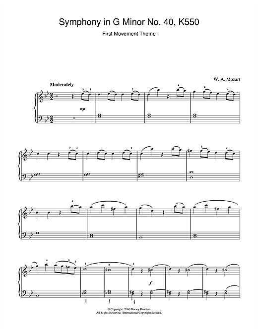 Wolfgang Amadeus Mozart 1st Movement Theme from Symphony in G Minor No.40 K550 sheet music notes and chords. Download Printable PDF.