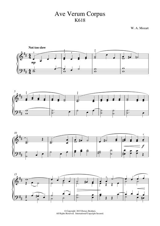 Wolfgang Amadeus Mozart Ave Verum Corpus, K618 sheet music notes and chords. Download Printable PDF.