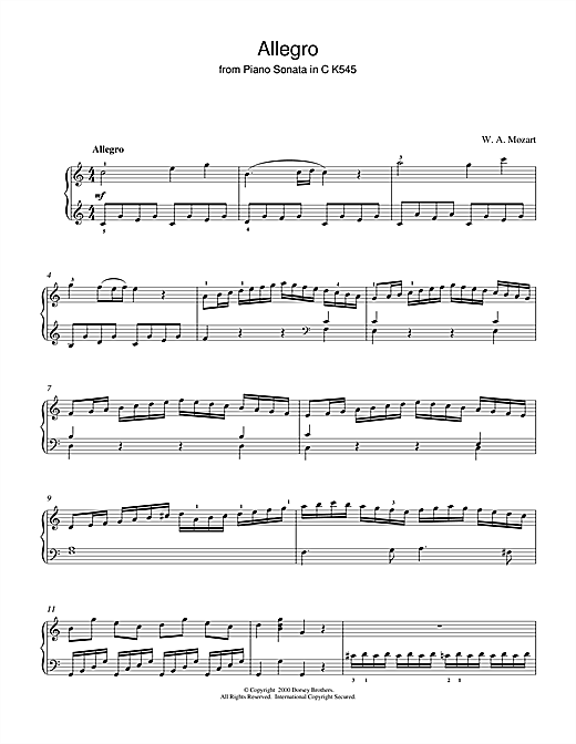 Wolfgang Amadeus Mozart Allegro (from Piano Sonata In C K545) sheet music notes and chords. Download Printable PDF.