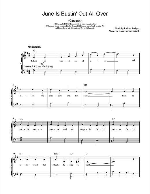 Rodgers & Hammerstein June Is Bustin' Out All Over (from Carousel) sheet music notes and chords. Download Printable PDF.