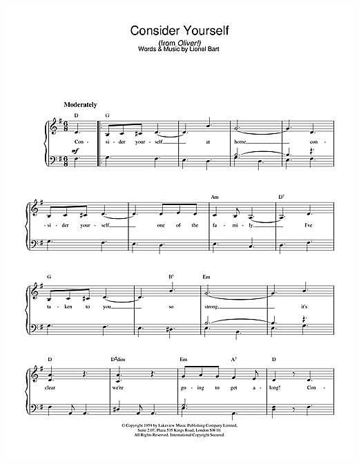 Lionel Bart Consider Yourself (from Oliver!) sheet music notes and chords. Download Printable PDF.