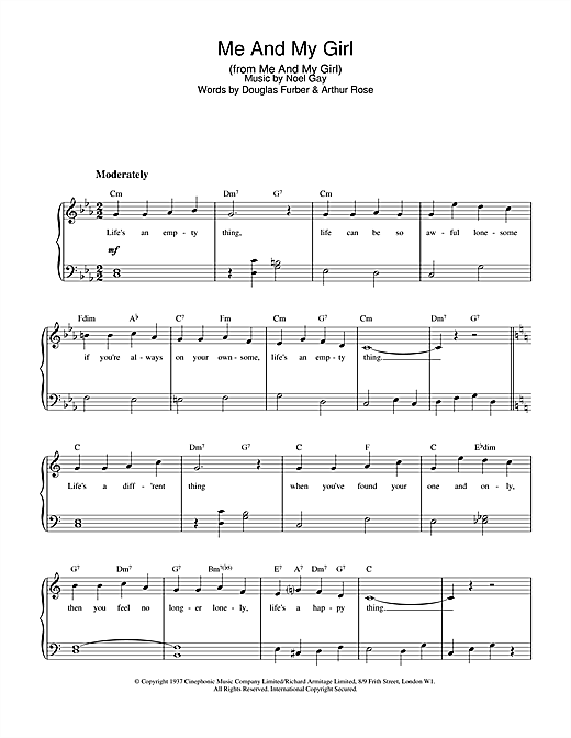 Noel Gay Me And My Girl sheet music notes and chords. Download Printable PDF.