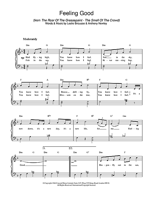 Nina Simone Feeling Good sheet music notes and chords. Download Printable PDF.