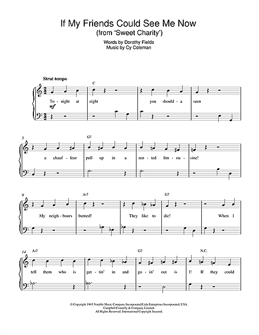 Dorothy Fields If My Friends Could See Me Now (from Sweet Charity) sheet music notes and chords. Download Printable PDF.