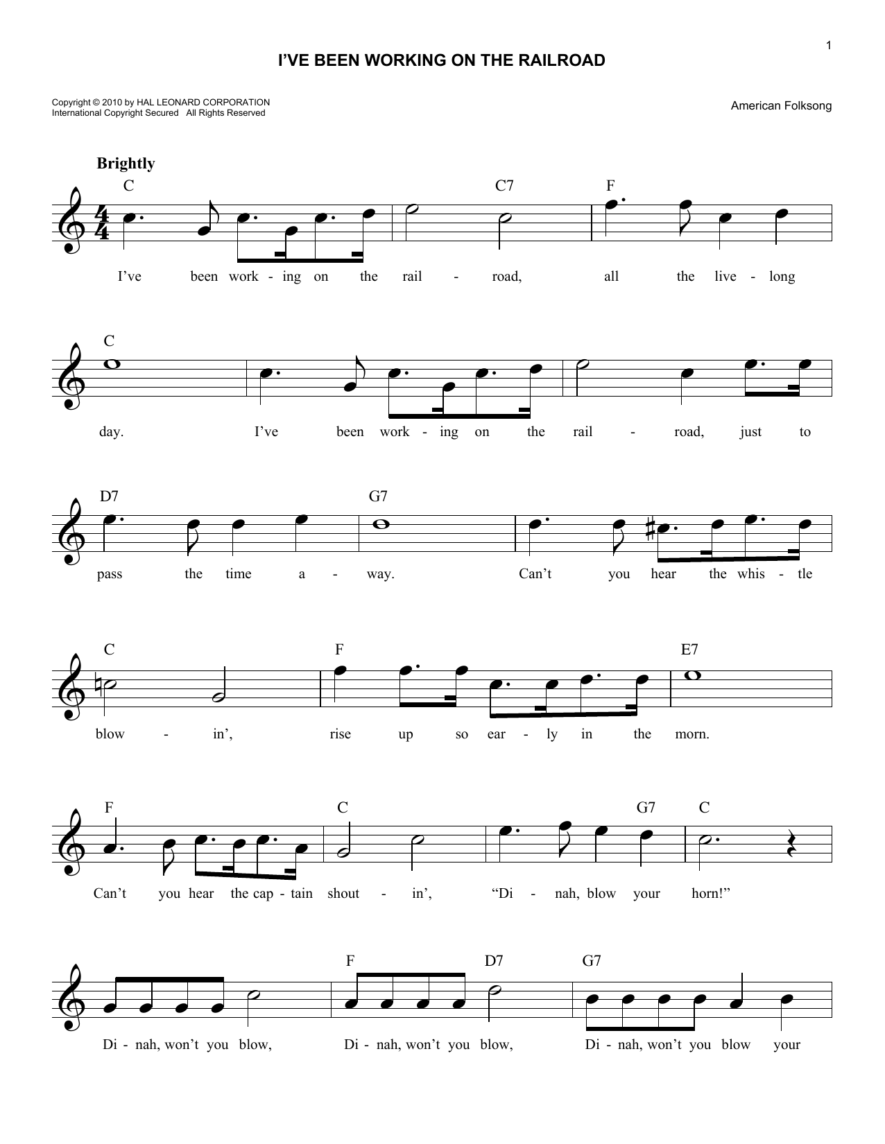 American Folksong I've Been Working On The Railroad sheet music notes and chords. Download Printable PDF.
