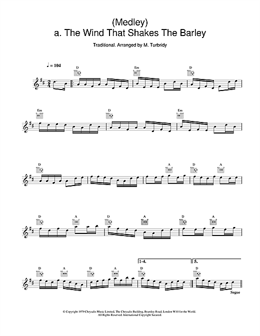 The Chieftains (Medley) a. The Wind That Shakes The Barley;b. The Reel With The Beryle sheet music notes and chords. Download Printable PDF.
