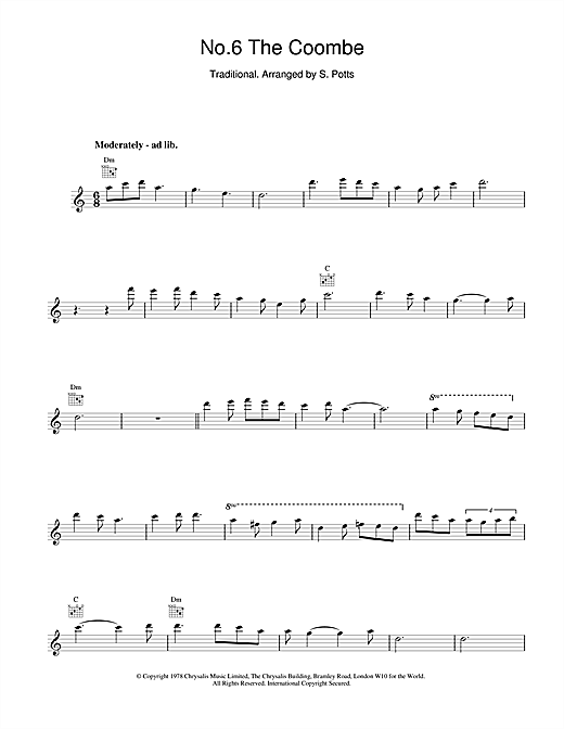 The Chieftains No.6 The Coombe sheet music notes and chords. Download Printable PDF.