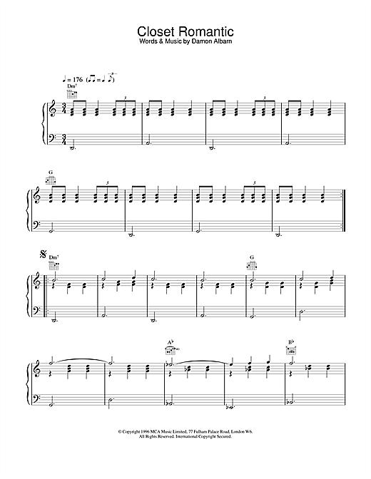 Blur Closet Romantic sheet music notes and chords. Download Printable PDF.