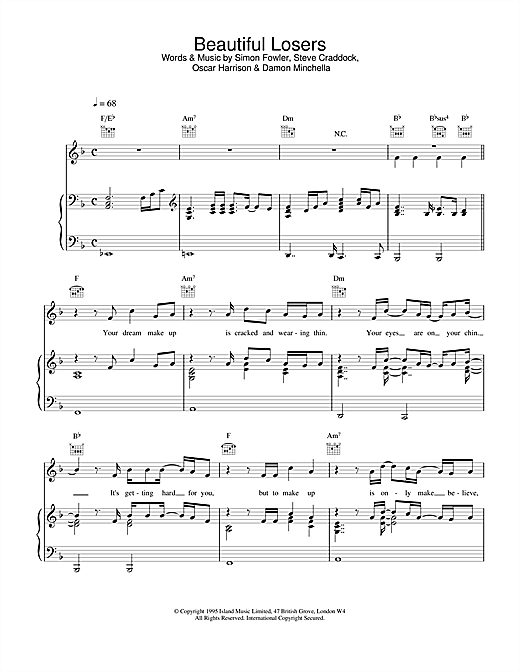 Ocean Colour Scene Beautiful Losers sheet music notes and chords. Download Printable PDF.