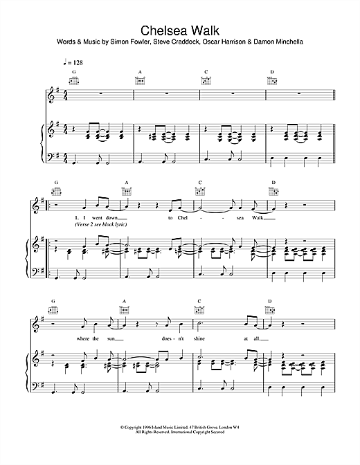 Ocean Colour Scene Chelsea Walk sheet music notes and chords. Download Printable PDF.
