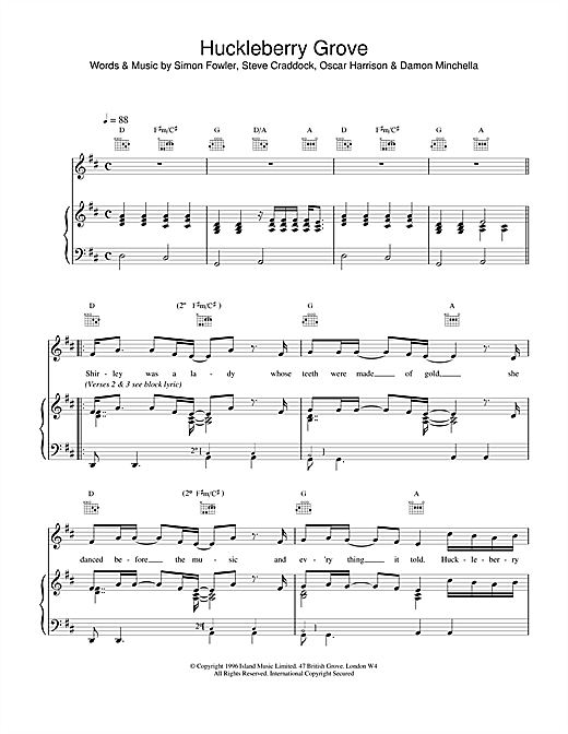 Ocean Colour Scene Huckleberry Grove sheet music notes and chords. Download Printable PDF.