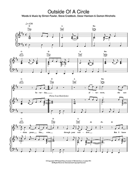 Ocean Colour Scene Outside Of A Circle sheet music notes and chords. Download Printable PDF.