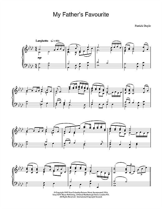 Patrick Doyle My Father's Favourite (from Sense And Sensibility) sheet music notes and chords. Download Printable PDF.