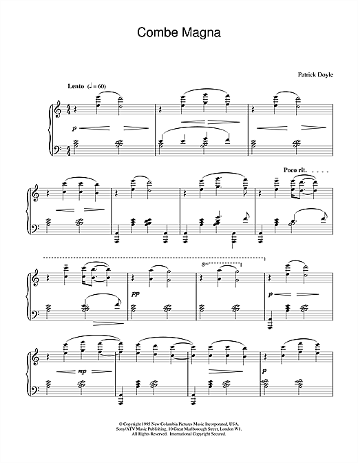 Patrick Doyle Combe Magna (from Sense And Sensibility) sheet music notes and chords. Download Printable PDF.