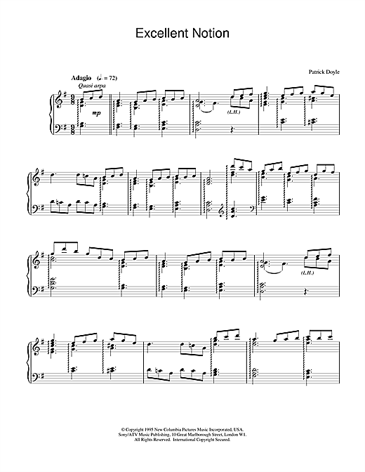 Patrick Doyle Excellent Notion sheet music notes and chords. Download Printable PDF.