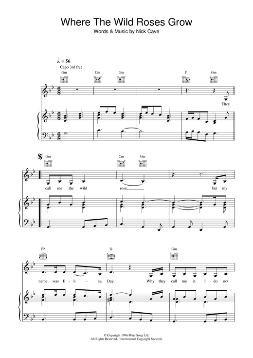 Nick Cave Where The Wild Roses Grow sheet music notes and chords. Download Printable PDF.