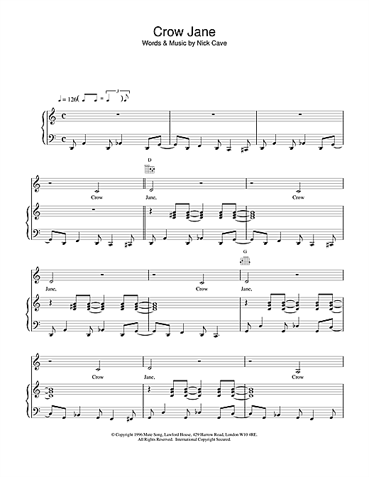 Nick Cave Crow Jane sheet music notes and chords. Download Printable PDF.