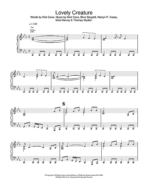 Nick Cave Lovely Creature sheet music notes and chords. Download Printable PDF.