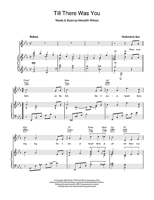 Meredith Willson Till There Was You sheet music notes and chords. Download Printable PDF.
