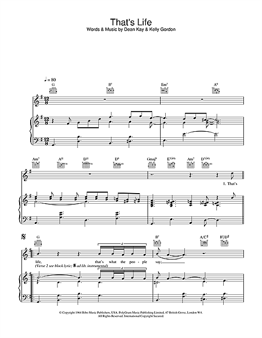 Frank Sinatra That's Life sheet music notes and chords. Download Printable PDF.