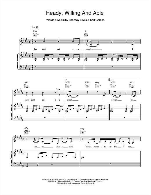 All Saints Ready, Willing And Able sheet music notes and chords. Download Printable PDF.