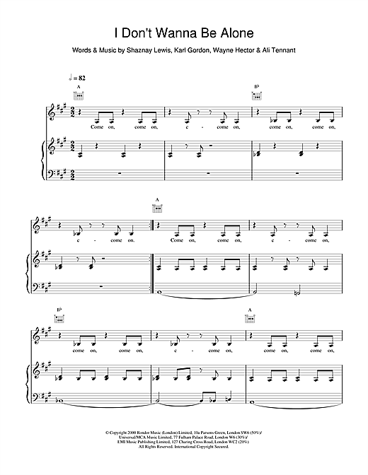 All Saints I Don't Wanna Be Alone sheet music notes and chords. Download Printable PDF.