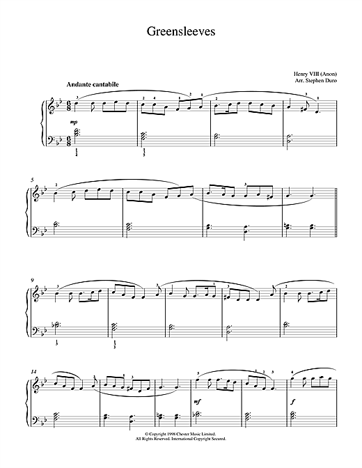 Klaus Wunderlich Greensleeves sheet music notes and chords. Download Printable PDF.