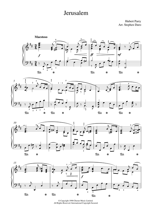 Hubert Parry Jerusalem sheet music notes and chords. Download Printable PDF.