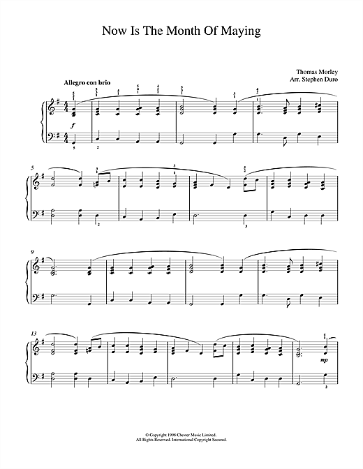 Thomas Morley Now Is The Month Of Maying sheet music notes and chords. Download Printable PDF.