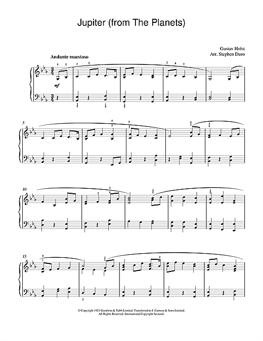 Gustav Holst Jupiter (from The Planets, Op.32) sheet music notes and chords. Download Printable PDF.