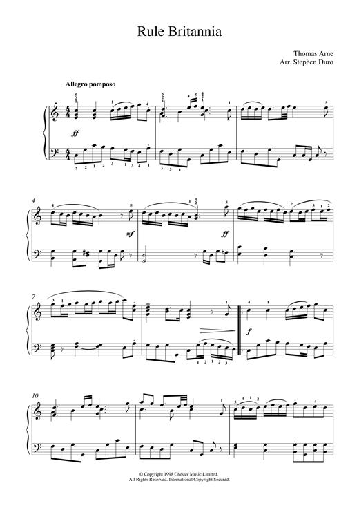 Thomas Arne Rule Britannia sheet music notes and chords. Download Printable PDF.