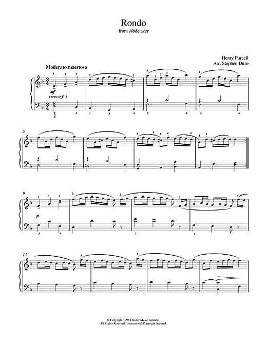 Henry Purcell Rondo from Abdelazer sheet music notes and chords. Download Printable PDF.