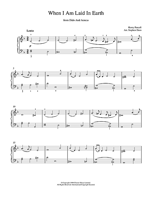 Henry  Purcell When I Am Laid In Earth (from Dido And Aeneas) sheet music notes and chords. Download Printable PDF.