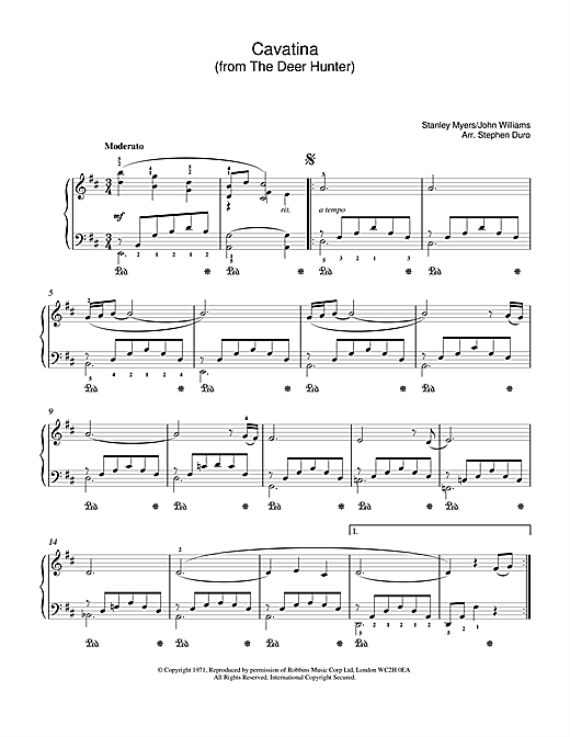 Stanley Myers Cavatina (from The Deer Hunter) sheet music notes and chords. Download Printable PDF.