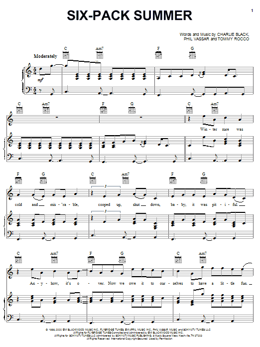 Phil Vassar Six-Pack Summer sheet music notes and chords. Download Printable PDF.