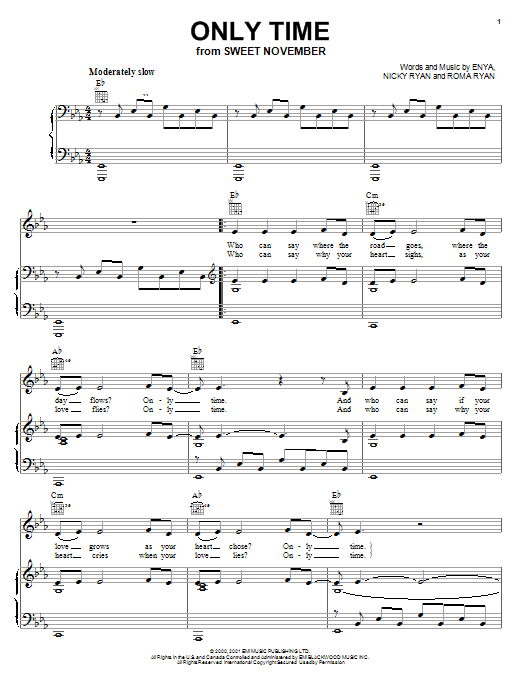 Enya Only Time sheet music notes and chords. Download Printable PDF.