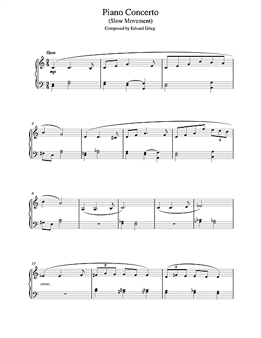 Edvard Grieg Piano Concerto in G minor (Slow Movement) sheet music notes and chords. Download Printable PDF.
