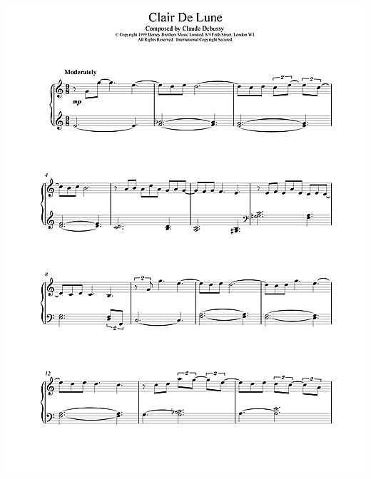 Claude Debussy Clair De Lune (from Suite Bergamasque) sheet music notes and chords. Download Printable PDF.