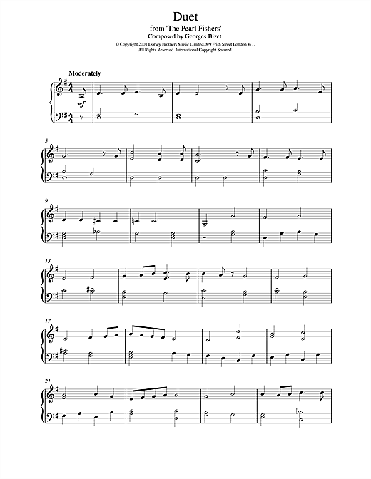 Georges Bizet Duet from The Pearl Fishers sheet music notes and chords. Download Printable PDF.