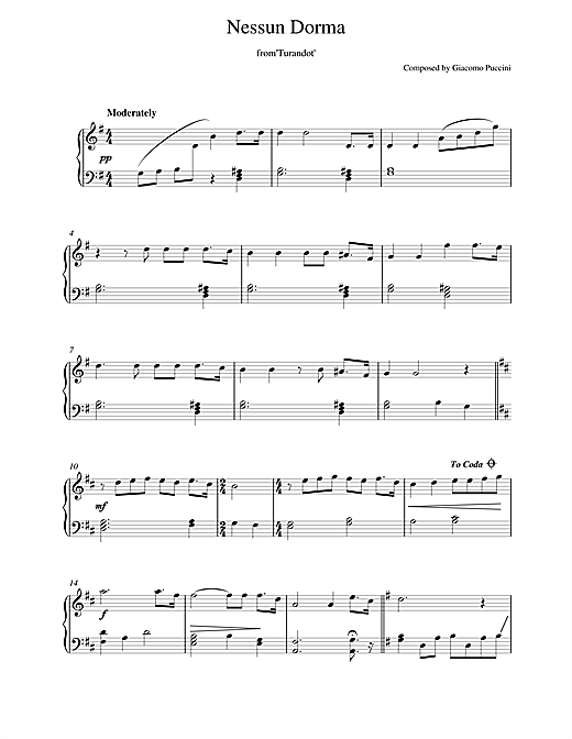 Giacomo Puccini Nessun Dorma (from Turandot) sheet music notes and chords. Download Printable PDF.