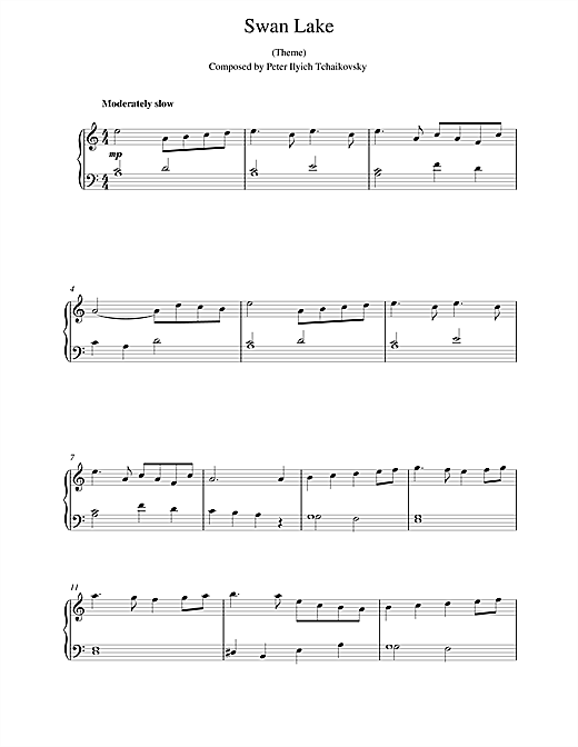 Pyotr Ilyich Tchaikovsky Swan Lake sheet music notes and chords. Download Printable PDF.