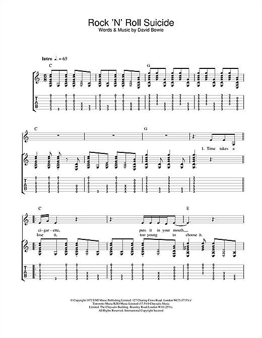 David Bowie Rock 'N' Roll Suicide sheet music notes and chords. Download Printable PDF.