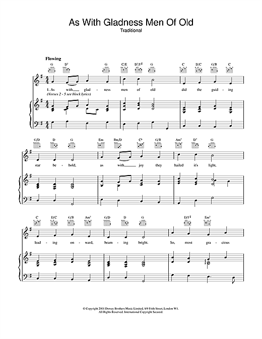 Christmas Carol As With Gladness Men Of Old sheet music notes and chords. Download Printable PDF.